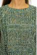 Свитер женский реглан 614F1126 зелено-белый / желтый