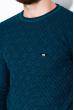 Джемпер с крупным вырезом 520F002 сине-бирюзовый