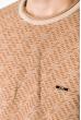 Джемпер с крупным вырезом 520F002 светло-коричневый / молочный