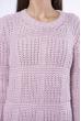 Свитер вязка квадратами 120PNA19304 светло-лиловый
