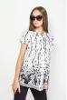 Блуза женская удлиненная из хлопка 118P296 бело-черный