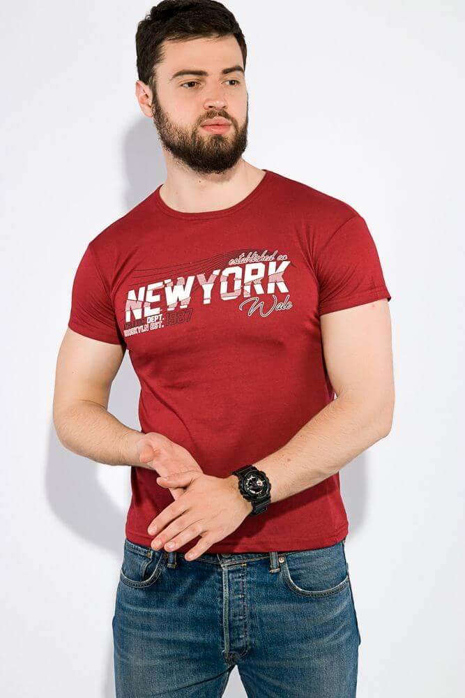 Мужская футболка New York бордо 59 грн.
