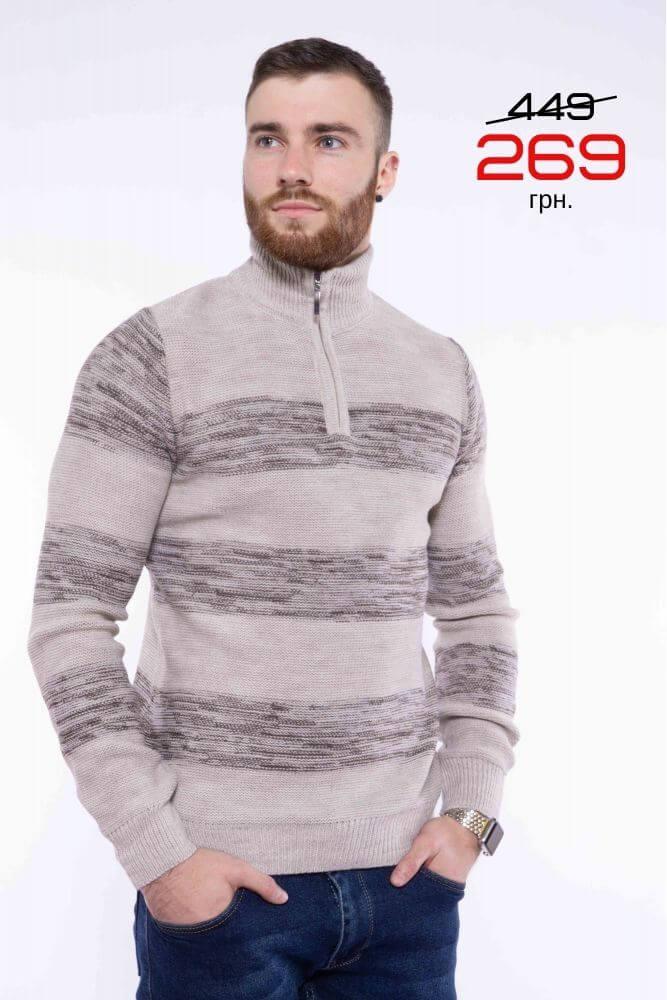 Мужской свитер с воротом на змейке 269 грн.