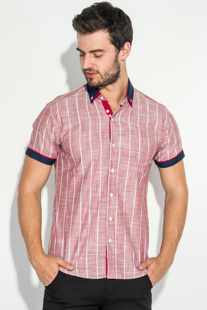 Купить Рубашка мужская двойной воротник, принт полоска 50P2018-3, Time of Style, Светло-зеленый, Сине-бордовый, Сине-серый