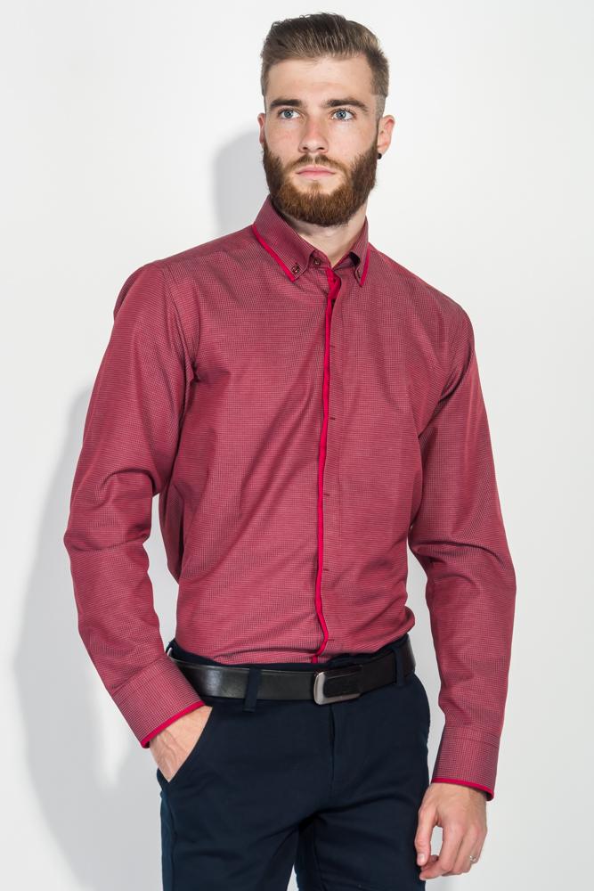 Купить Рубашка мужская в мелкую, фактурную клетку 50PD3052, Time of Style, Бордо