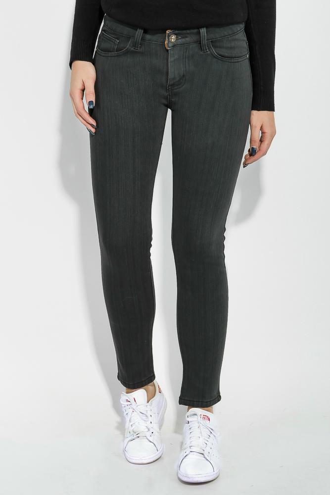 Купить Джинсы женские зимние, в темном оттенке 19PL127, Time of Style, Серый, Грифельный
