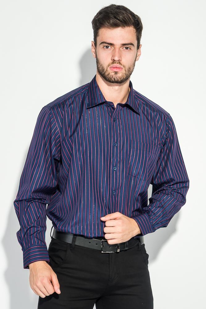 Купить Рубашка мужская в полоску, с карманом 50PD869-41, Time of Style, Темно-синий/полоска