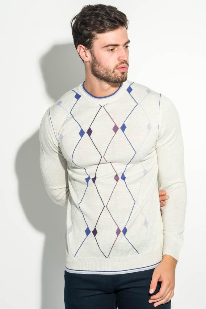 Купить Джемпер мужской с геометрическим орнаментом 50PD484, Time of Style, Серо-сиреневый, Темно-серый, Черный, Темно-фиолетовый, Темно-синий
