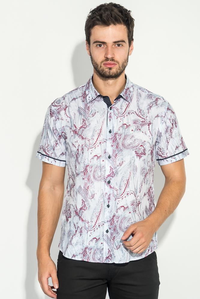 Купить Рубашка мужская с цветочным принтом 50P2265-3, Time of Style, Молочно-бордовый
