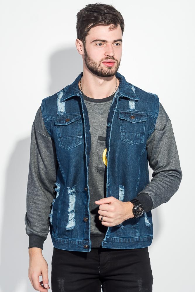 Купить Жилетка джинс мужская с принтом на спине 203V001, Time of Style, Синий, Грифельный