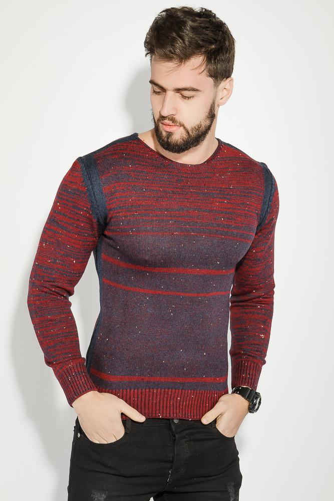 Купить Свитер мужской в полоску из двух цветов 48P3157-2, Time of Style, Бордово-синий