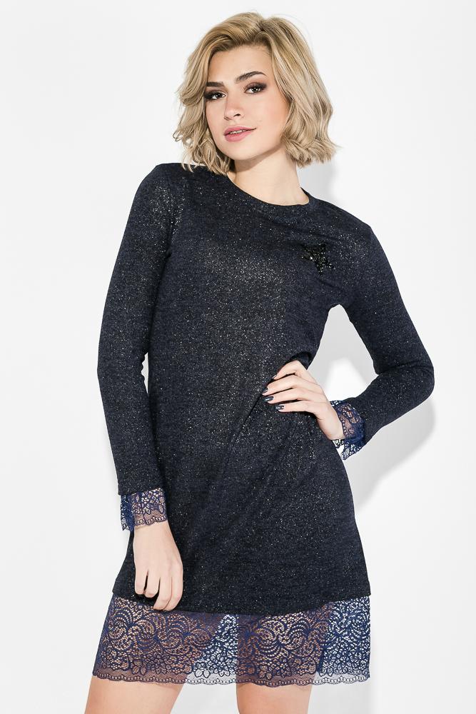 Купить Платье женское с кружевной оборкой 78PD5044, Time of Style, Пудровый, Марсала, Темно-синий