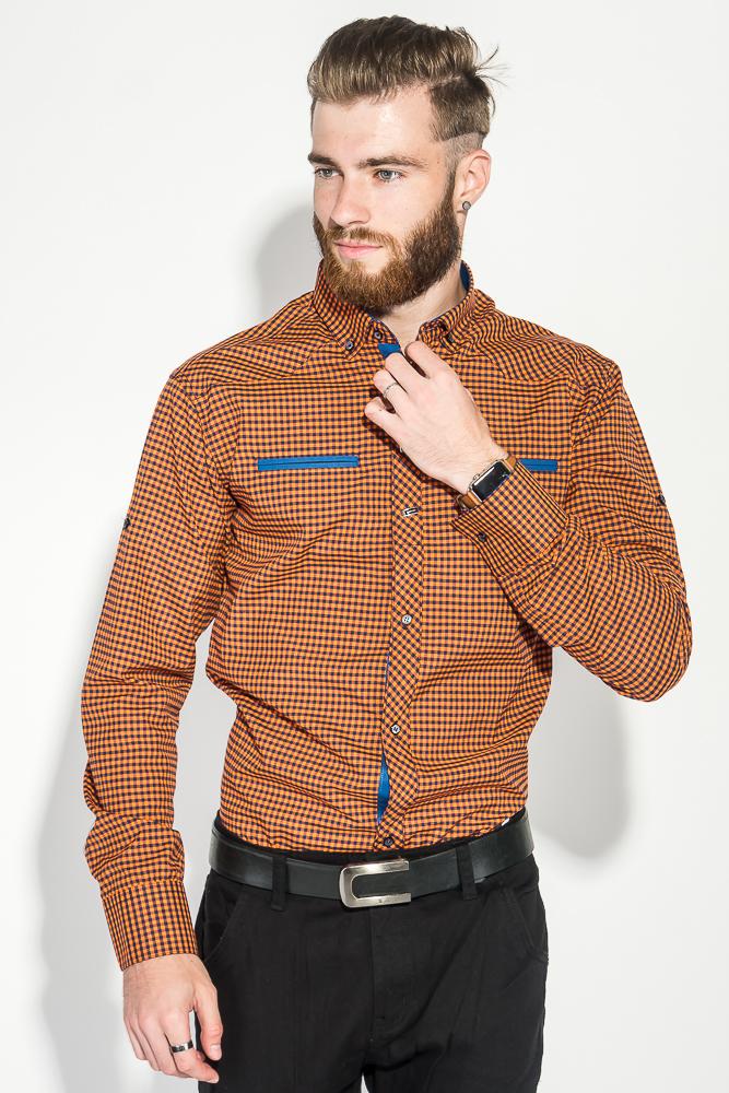 Купить Рубашка мужская мелкая клетка 50PD0042, Time of Style, Бирюза, клетка, Желтый, Ментол, Оранжевая клетка, Кирпичный
