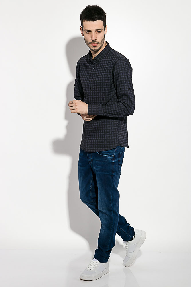 Купить Мужские рубашки, Рубашка мужская 511F004-3, Time of Style, Грифельно-сизый, Сиренево-бежевый