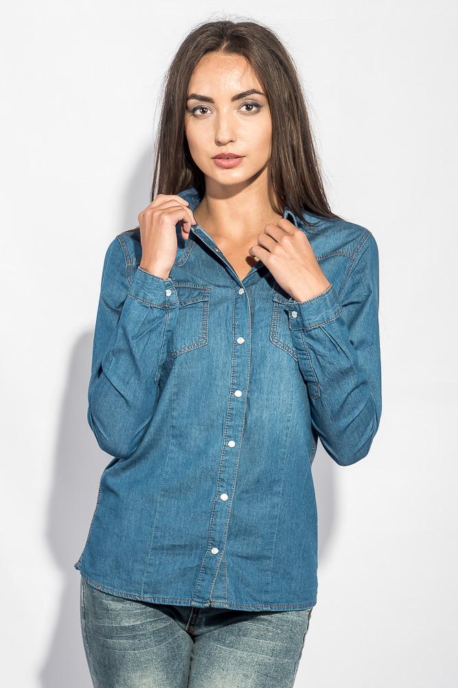 Купить Рубашка женская джинсовая тонкая 248F004, Time of Style, Светло-синий