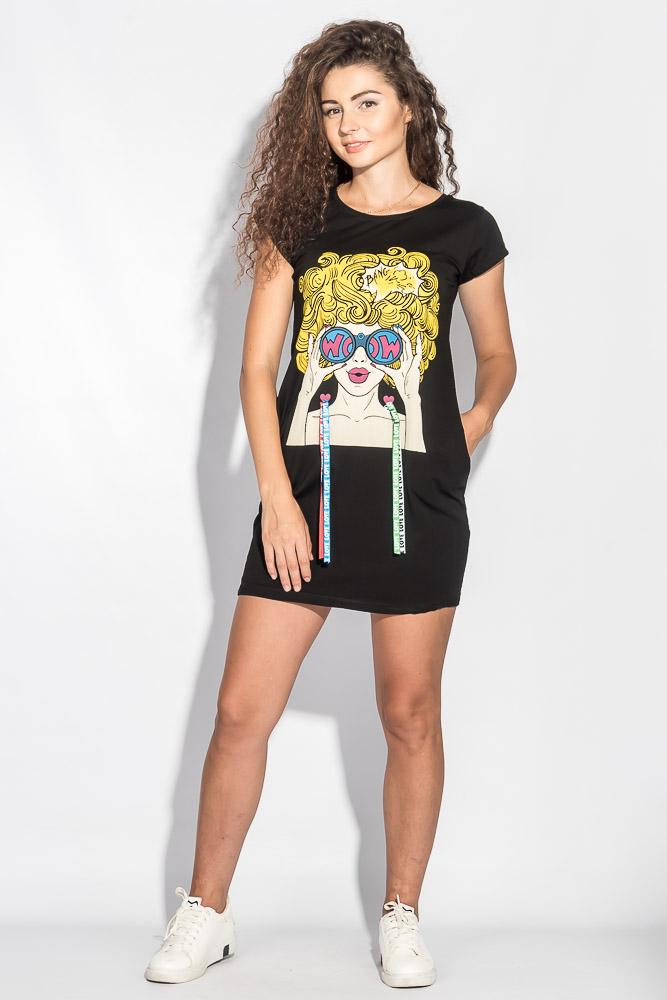 Купить Туника женская с креативным принтом 212F053, Time of Style, Синий, Светло-серый, Черный
