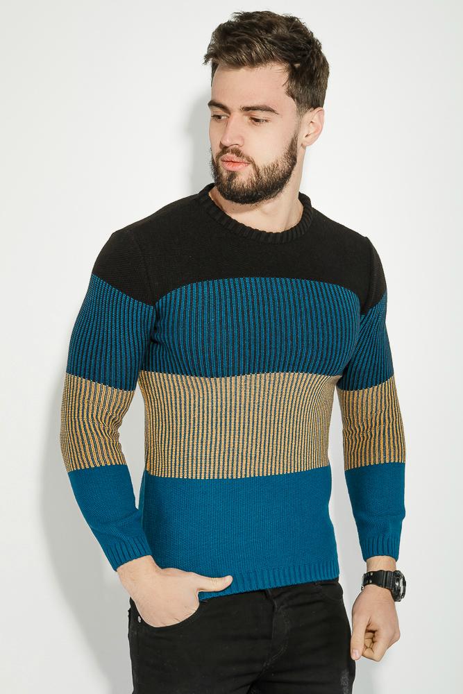 Купить Свитер мужской теплый, в полоску 48P3297-1, Time of Style, Черно-синий