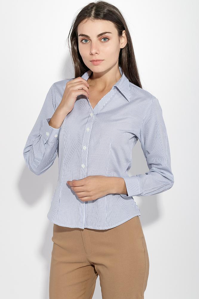 Рубашка женская в полоску 287V001-1, Time of Style, Бело-синий, Сине-белый  - купить со скидкой