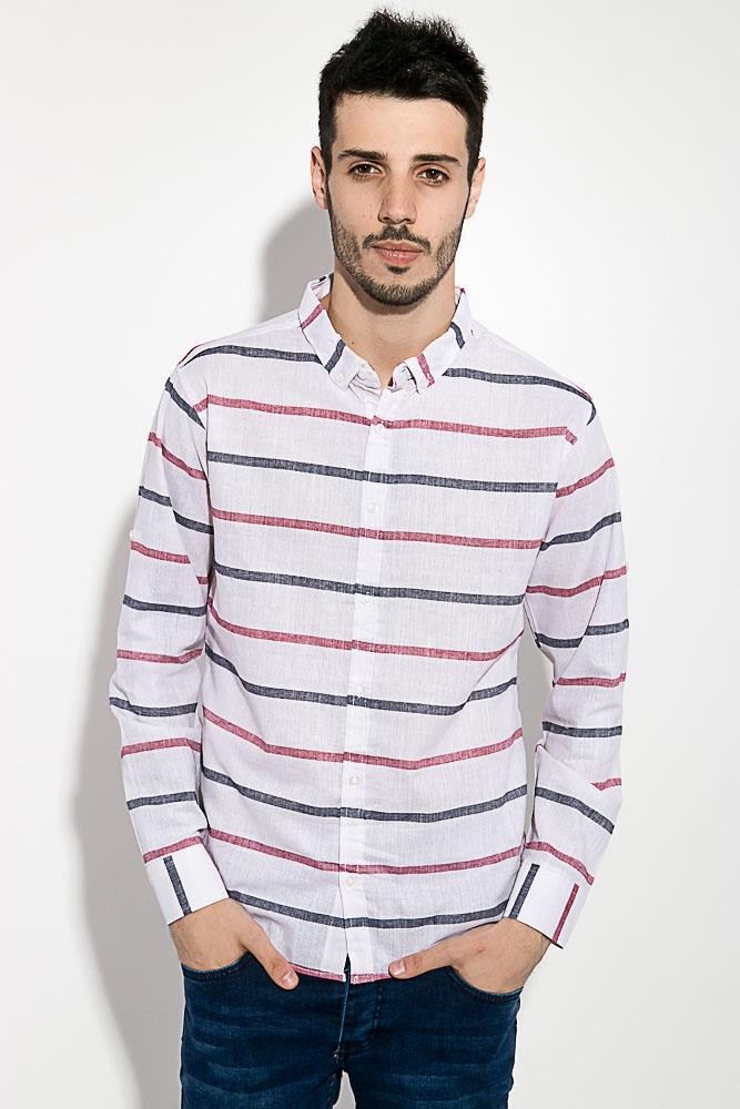 Купить Мужские рубашки, Рубашка мужская в полоску 511F003, Time of Style, Бело-бордовый, Бело-зеленый