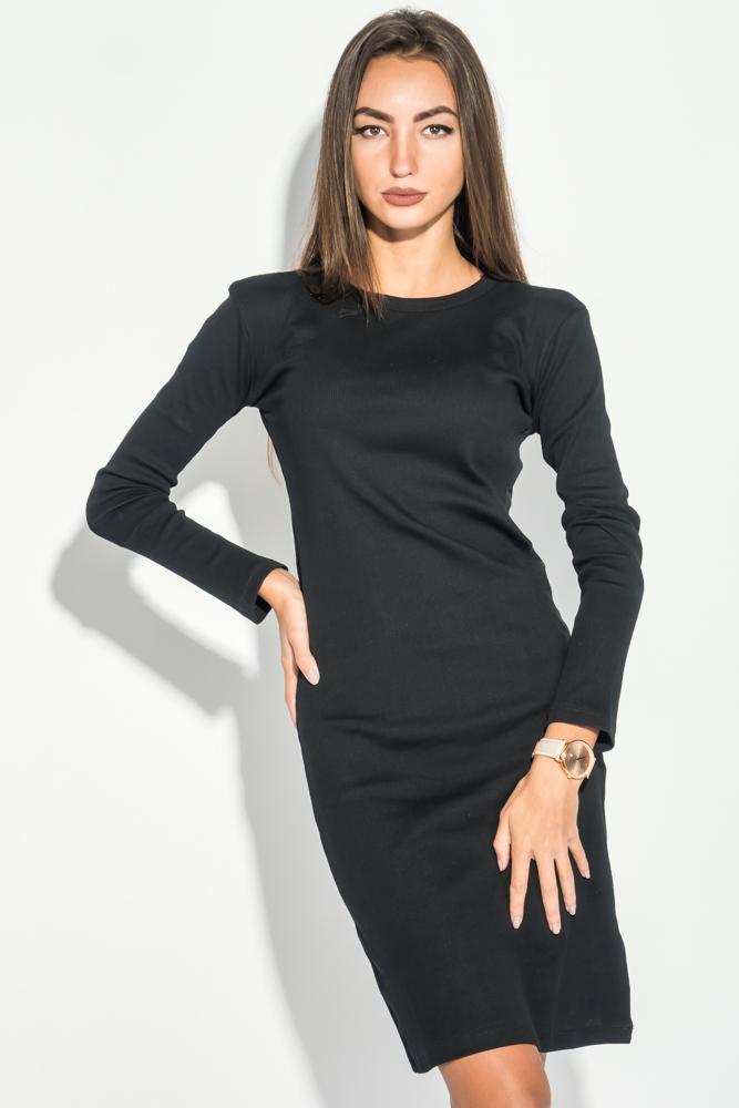 Платье женское длинное, ткань в рубчик 388F003, Time of Style, Черный, Светло-серый, Чернильный, Хаки  - купить со скидкой
