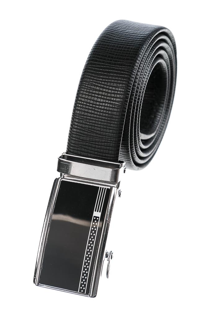 Купить Ремень мужской с минимальным рисунком на пряжке 97P002-3, Time of Style, Черный