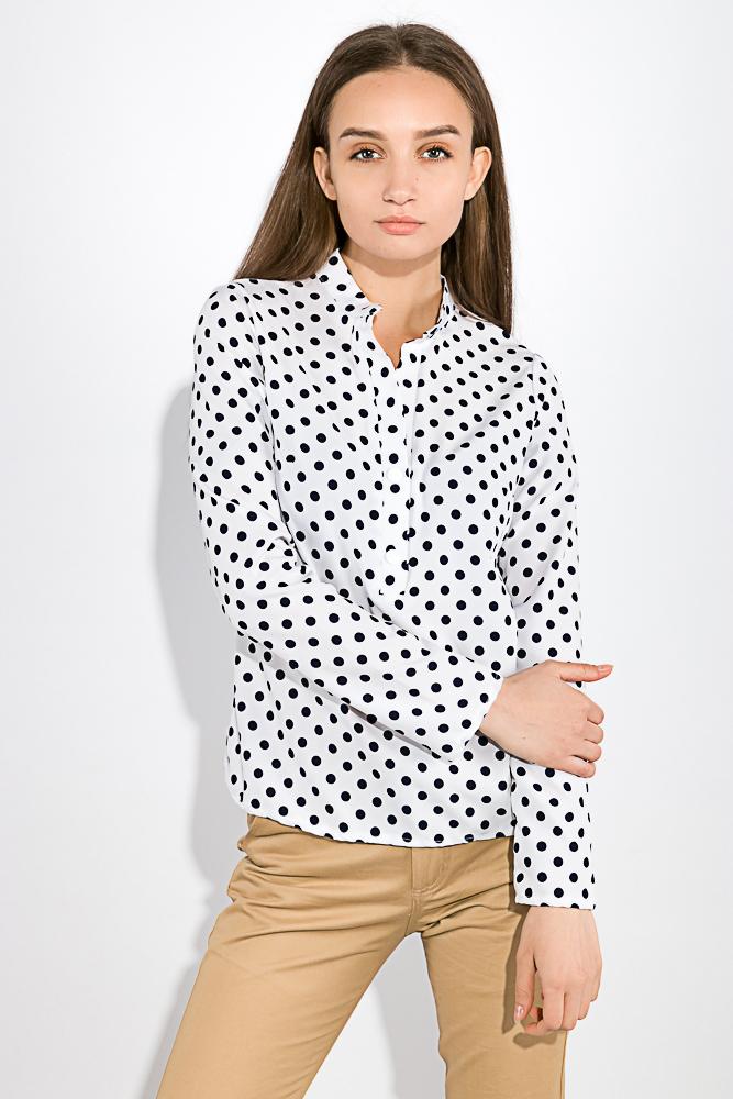 Женские блузки, Блузка женская с пуговицами на груди 83P1705, Time of Style, Бело-розовый, полоска, Черно-белый/полоска, Бело-синий, горох, Черно-белый горошек  - купить со скидкой