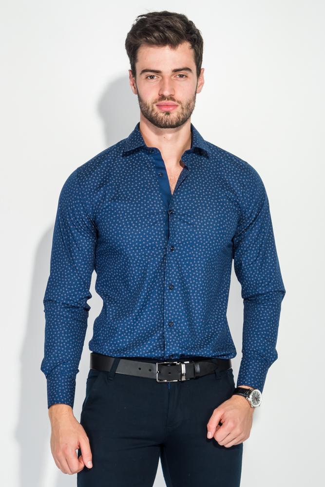 Купить Рубашка мужская в мелкий, контрастный цветочек 50PD6029, Time of Style, Бело-черный, Сине-бежевый