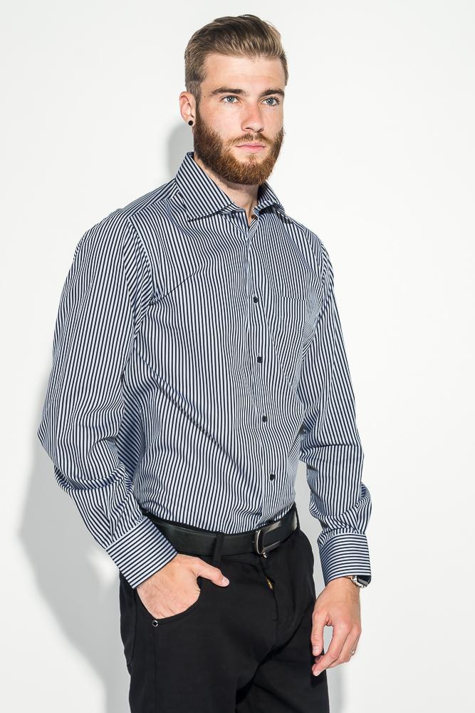 Купить Рубашка мужская в двухцветную полоску 50PD44002, Time of Style, Бело-голубой, Черно-белый, Серо-белый, Бирюзово-голубой