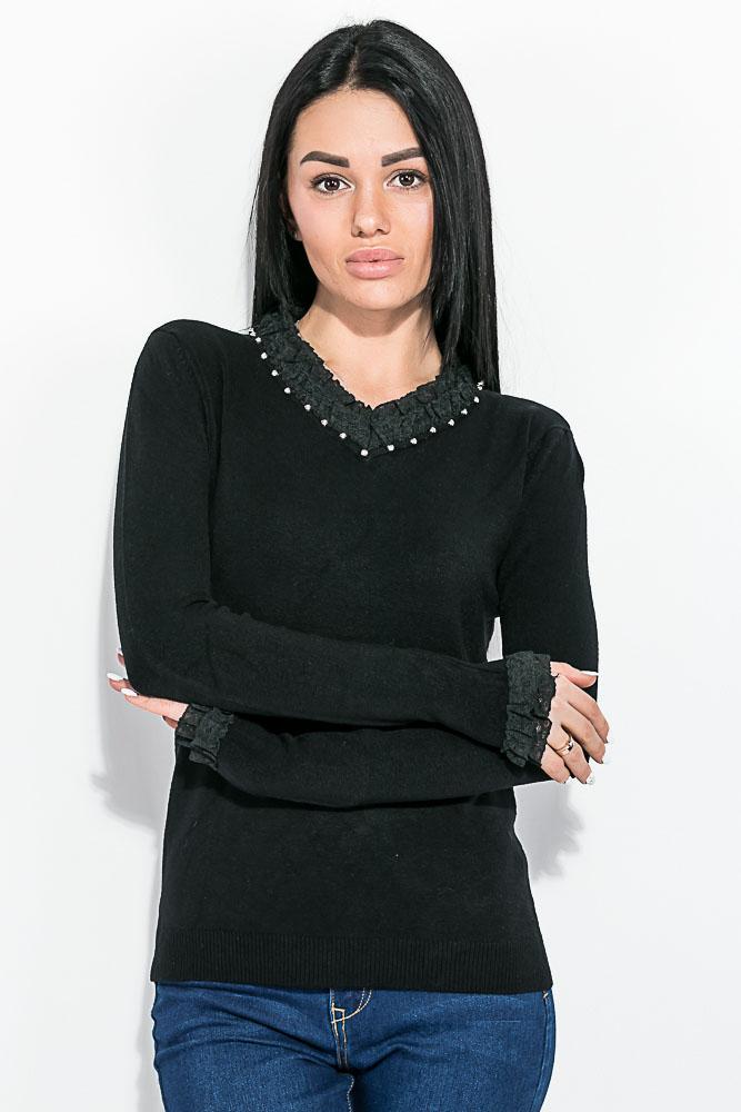 Купить Кофта женская, с кружевом на рукаве и вырезе 81PD8006, Time of Style, Черный
