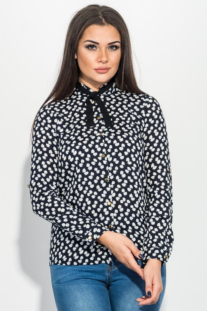 Купить Блузка женская с бантиком, принтованная 64PD228-1, Time of Style, Синий, розы, Черно-белый, перья