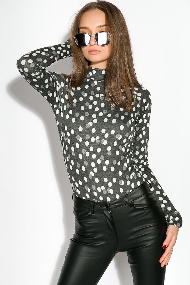 Купить Боди женское принтованное, на кнопках, длинный рукав 64PD93, Time of Style, Черно-розовый, горох