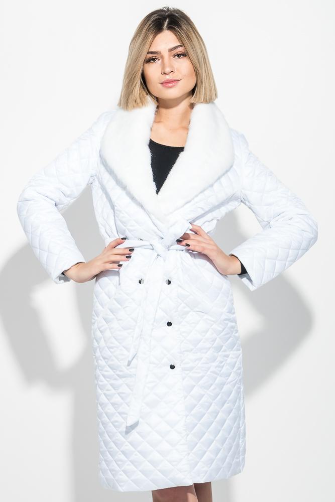Купить Верхняя одежда, Пальто женское стеганное, с мехом 69PD1059, Time of Style, Черный, Пудровый, Белый, Красный
