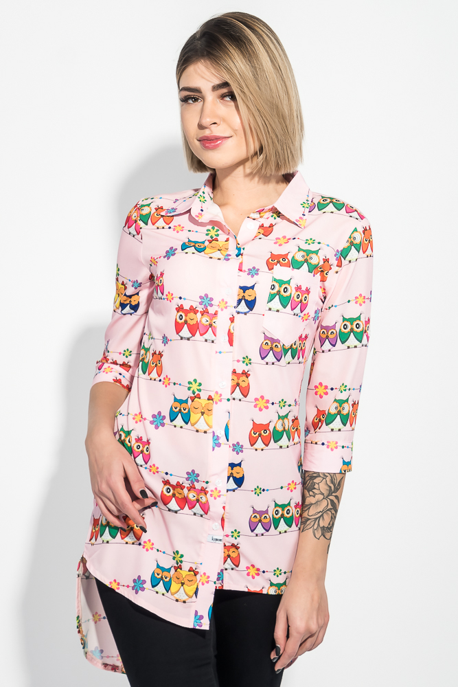 Купить Туника женская мультипликационный принт 64PD287-3, Time of Style, Розовый, совы