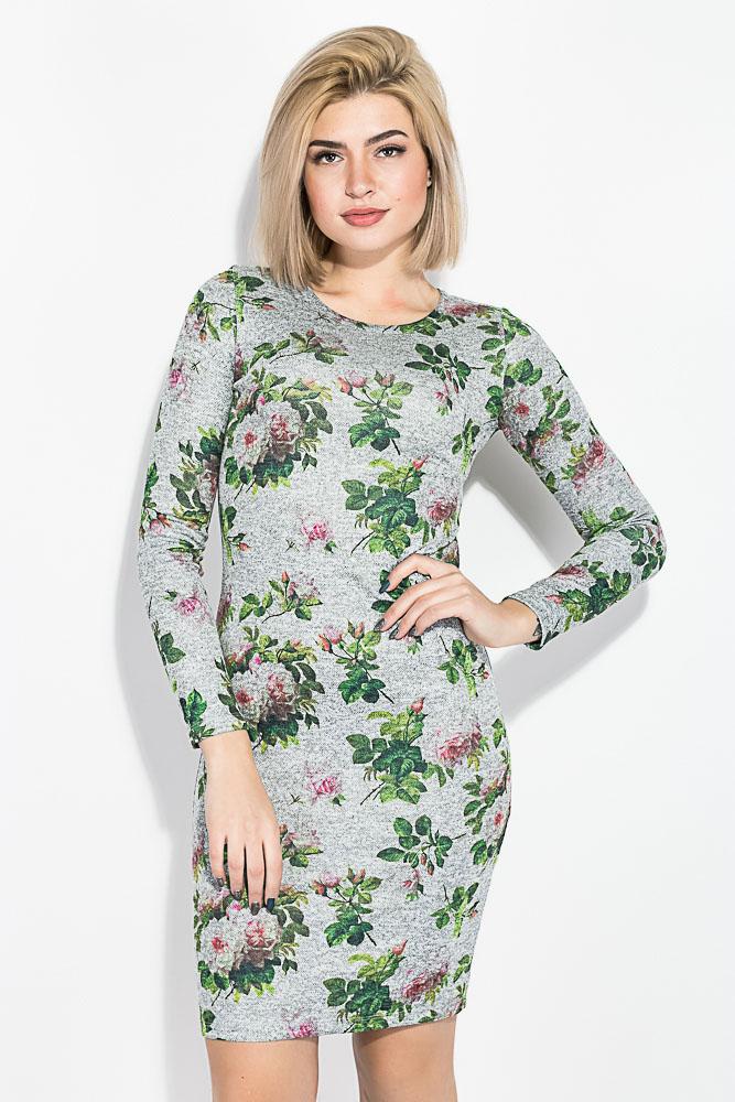 Купить Платье с цветочным принтом 70P023, Time of Style, Серо-зеленый, Серый-хаки, Синий меланж