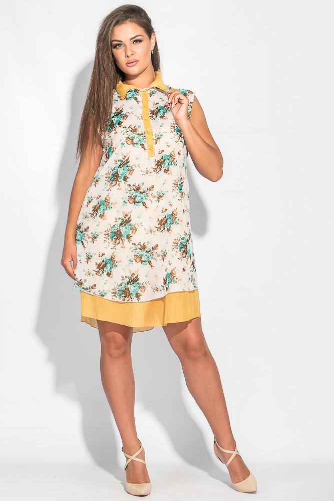 Купить Платье женское длинное с мягким воротником 464F002-2, Time of Style, Бежево-горчичный
