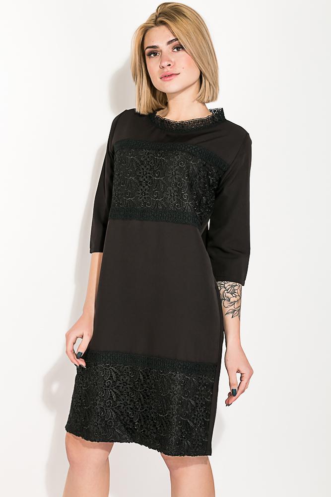 Купить Платье женское с кружевными вставками 74PD319, Time of Style, Черный