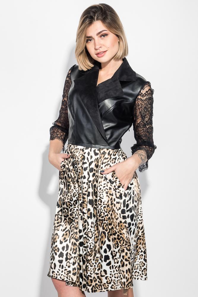 Платье женское рукав кружево, юбка с анималистичным принтом 68PD547, Time of Style, Черно-бежевый  - купить со скидкой
