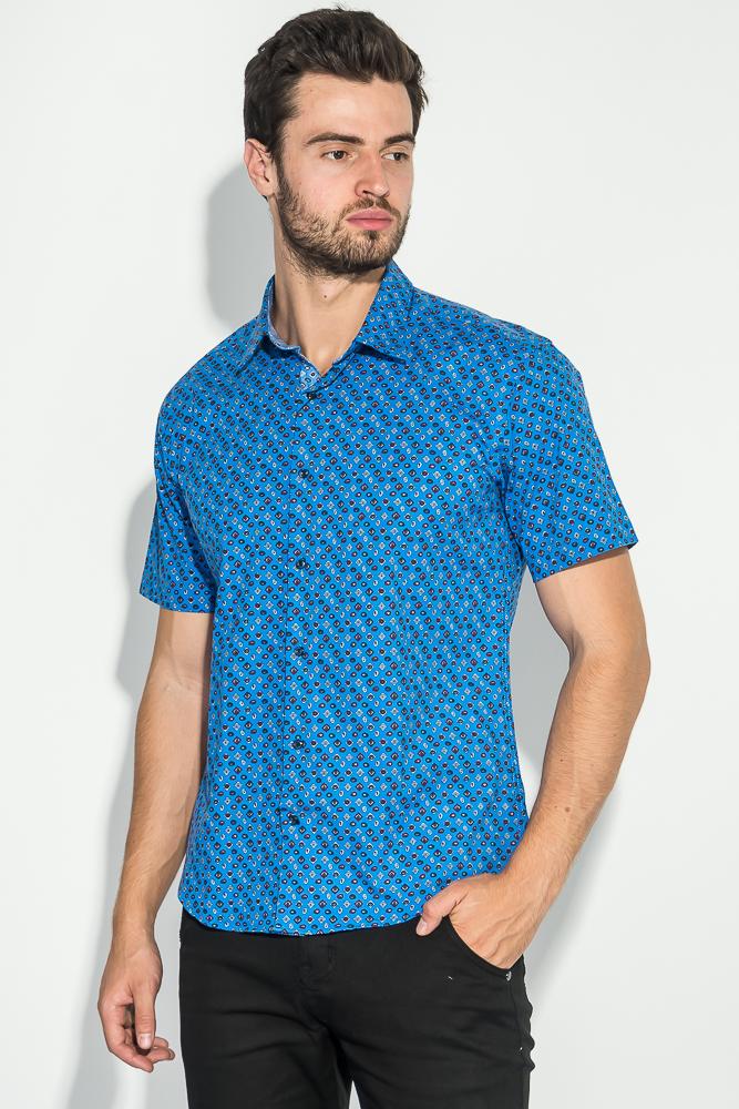 Купить Рубашка мужская принтованная 50P1039-1, Time of Style, Темно-синий, Светло-синий