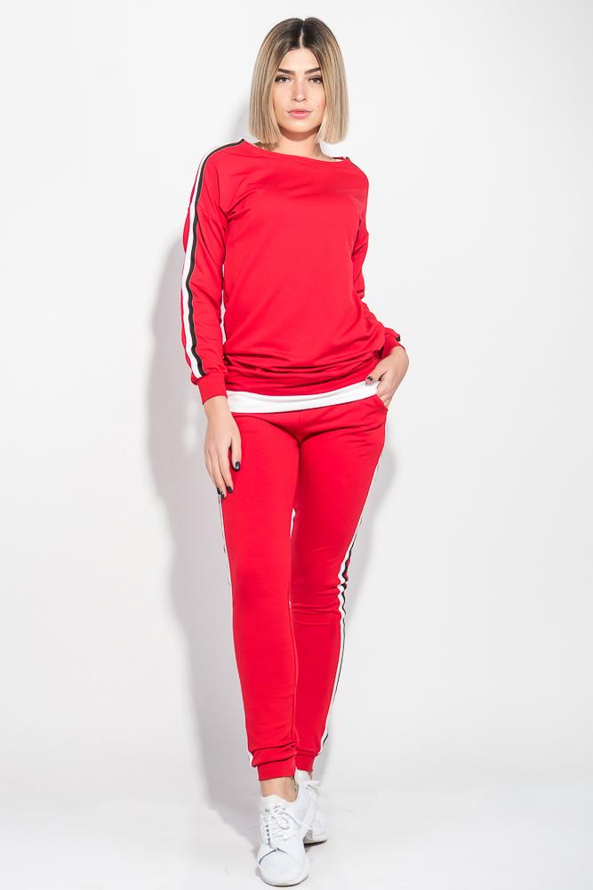 Купить Костюм женский спортивный с крупным текстовым принтом на спине 74PD363, Time of Style, Красный, Черный