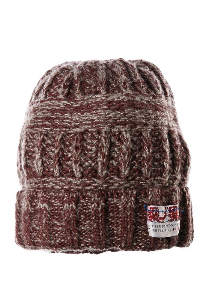 Купить Шапка теплая 65P2401, Time of Style, Бордово-серый, Хаки-горчичный, Хаки-кирпичный