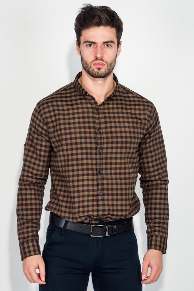 Рубашка мужская в клетку, стиль casual 511F001, Time of Style, Бордово-черный, Бежево-черный, Черно-зеленый, Орехово-черный, Красно-черный  - купить со скидкой