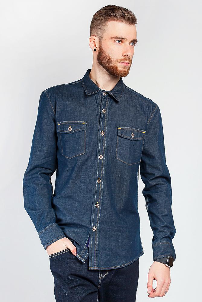 Рубашка джинсовая 684K002, Time of Style, Синий, Чернильный, Серо-синий, Темно-синий, Светло-синий, Сизо-синий  - купить со скидкой