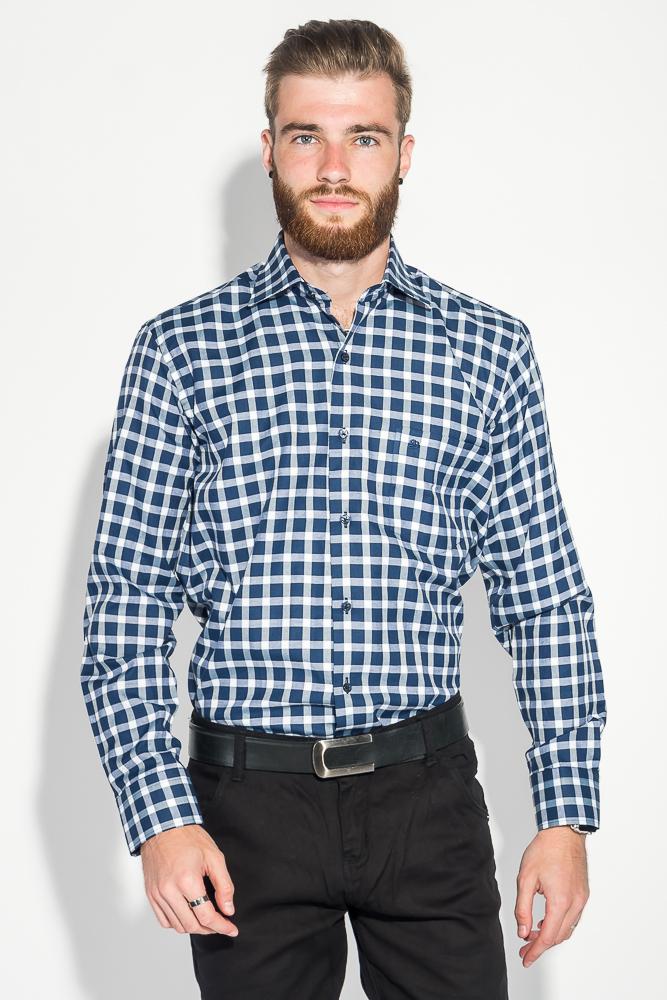 Купить Рубашка мужская двухцветная клетка 50PD0056, Time of Style, Сине-белый, клетка