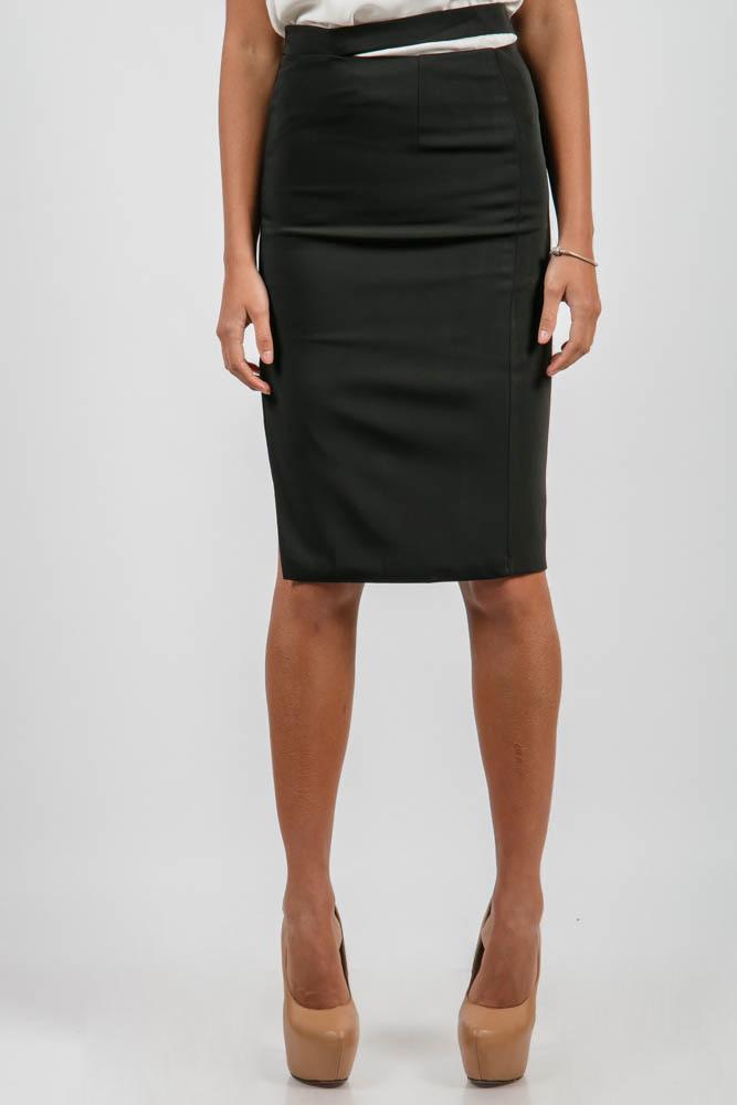 Купить Юбка женская прямая, с вырезом 876K002, Time of Style, Красно-черный, Черный