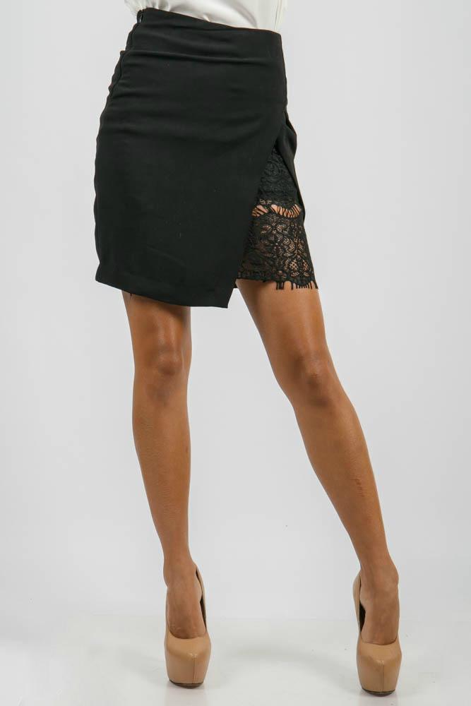 Юбка женская двойная, с кружевом 876K005, Time of Style, Красно-черный, Черный  - купить со скидкой