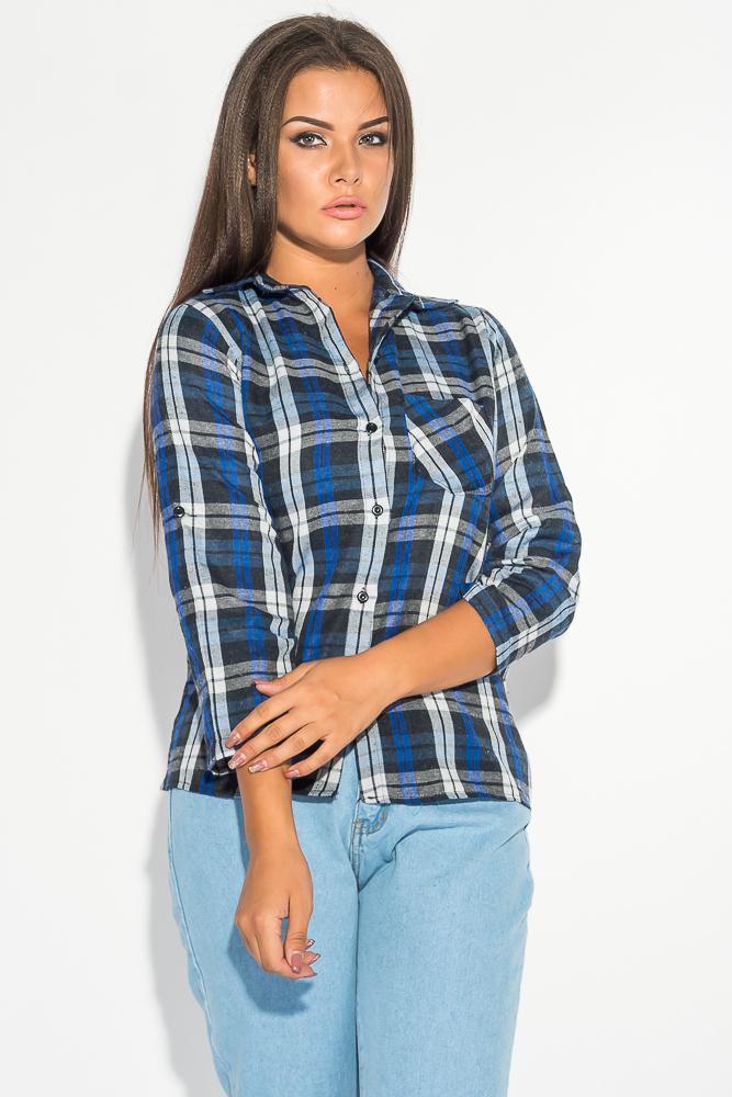 Купить Рубашка женская в мелкую клетку 52P002-1, Time of Style, Грифельно-синий