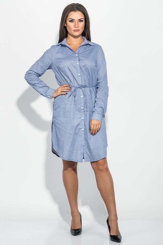 Купить Платье (полубатал) женское с поясом, принт клетка 64PD290-1, Time of Style, Сине-белый, клетка