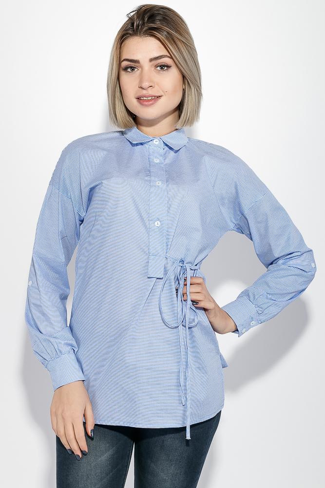 Купить Блузка женская принт мелкая клетка, на пуговицах на груди 64PD316-3, Time of Style, Бело-голубой, клетка, Сине-белый