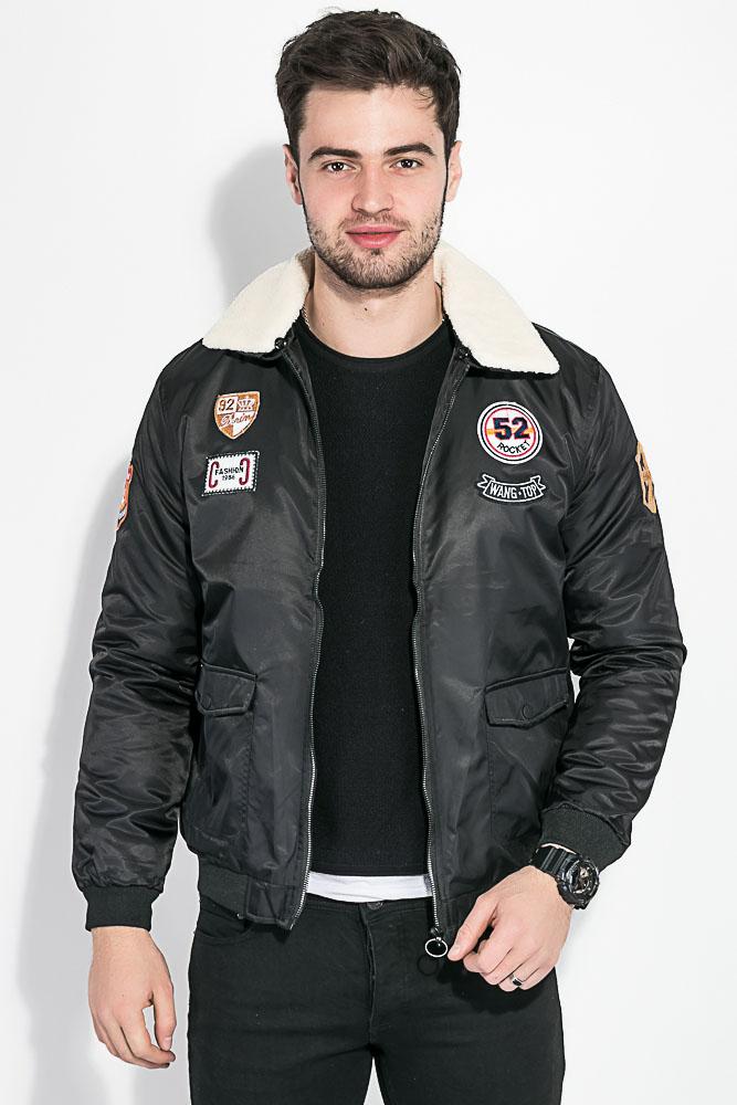 Купить Верхняя одежда, Куртка мужская с воротником из искусственного меха 178V001, Time of Style, Черный, Оливковый