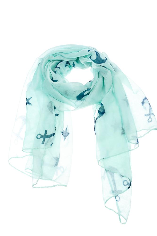 Купить Шарф женский легкий, с морским принтом 73PD003, Time of Style, Розово-синий, Бело-синий, Салатово-синий, Черно-серый